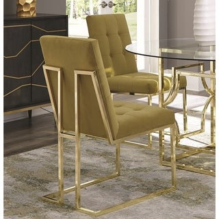 Modern Brass Artistic Floating Design Tufted Mustard Yellow Dining Chairs (Set of 2)