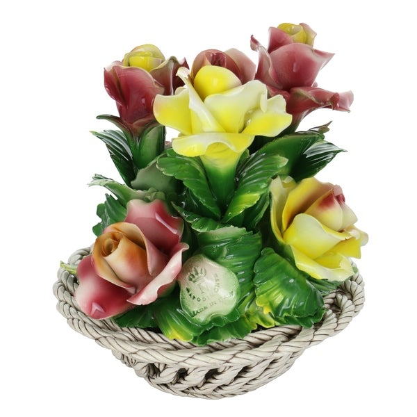 "Capodimonte Authentic Italian Porcelain Yellow & Pink Flowers in Round Woven Basket Centerpiece Made in Italy 9"" x 8"""