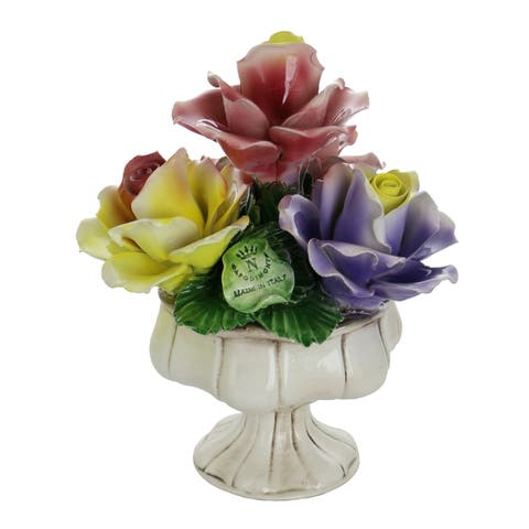 "Capodimonte Authentic Italian Yellow Rose, Pink & Purple Flower Quattro Stand Authentic Made in Italy 10"" x 8"""