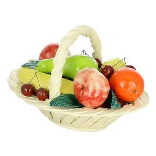 "Capodimonte Authentic Italian Multi-Color Fruit Basket w/Handle 13"" x 9"" Made in Italy Large Centerpiece"