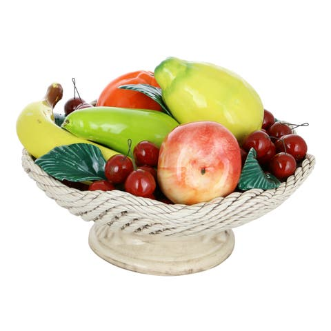 "Capodimonte Authentic Italian Fruit Basket On Short White Base 12"" x 9"" Made in Italy Large Fruit Bowl w/Woven Design"