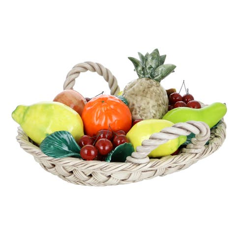 "Capodimonte Authentic Italian Oval Fruit Basket w/Lemons, Cherries, Pineapple Multicolor in Woven Basket w/Handles 16"" x 14"""