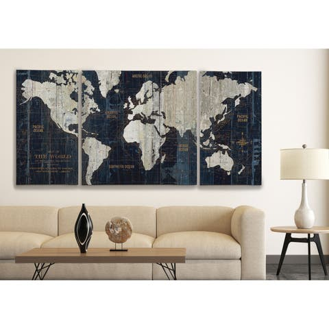 'Old World Map Blue' 3 Piece Graphic Art Print Set on Wrapped Canvas - Blue