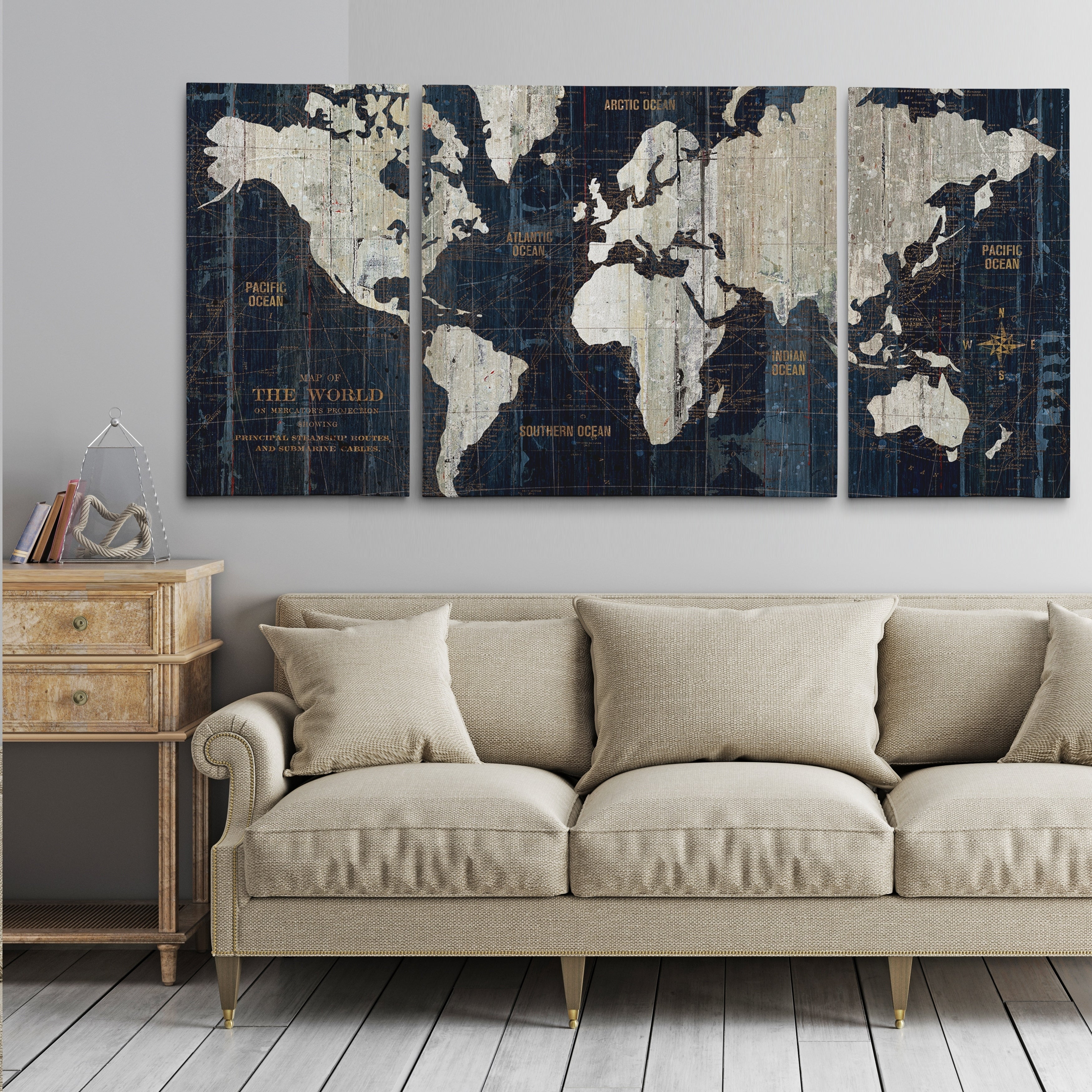 Old World Map Blue 3 Piece Graphic Art Print Set On Wrapped Canvas On Sale Overstock 24267502
