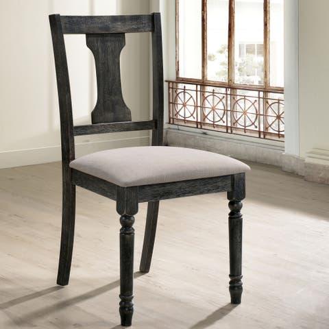 Furniture of America Sadler Rustic Grey Dining Chairs (Set of 2)
