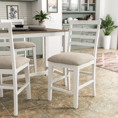 Furniture of America Biaz Rustic White Counter Height Chairs (Set of 2)