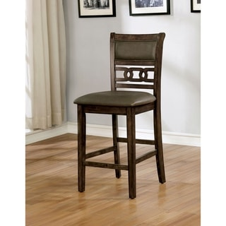 Furniture of America Rore Rustic Walnut Counter Height Chairs Set of 2