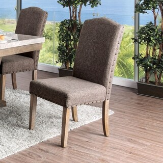 Furniture of America Yoss Rustic Brown Fabric Dinning Chairs Set of 2