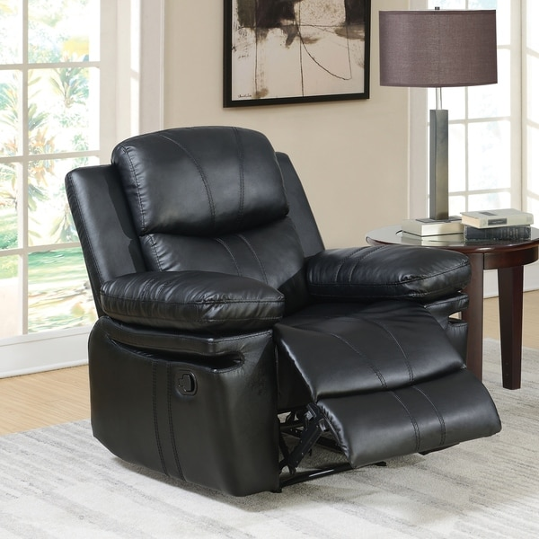 Overstock Clearance Furniture: Shop Copper Grove Pula Black Leather Recliner