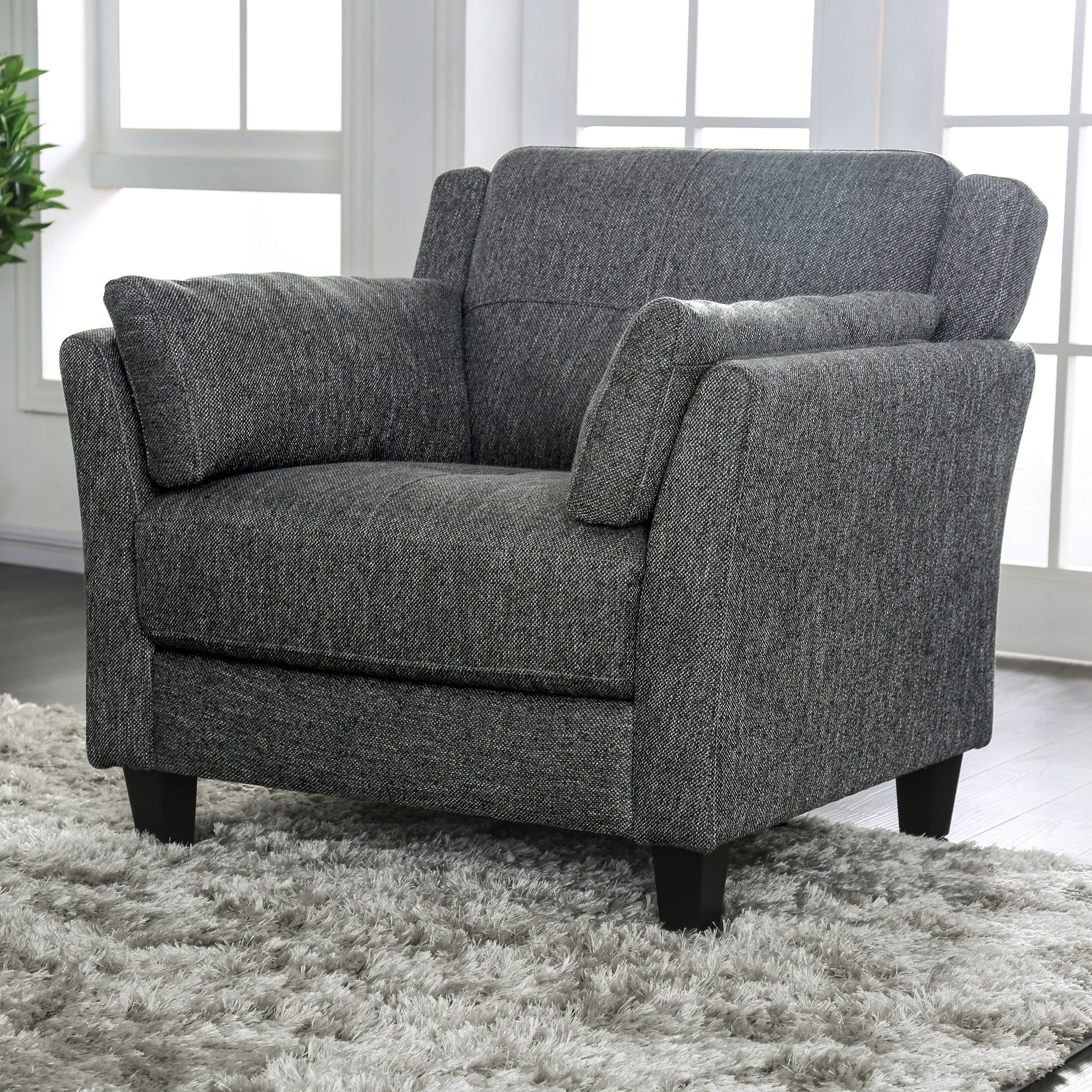 Swell Furniture Of America Bayard Mid Century Modern Grey Accent Chair Inzonedesignstudio Interior Chair Design Inzonedesignstudiocom