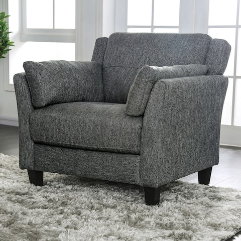 Furniture of America Yeca Mid-century Grey Linen Fabric Accent Chair