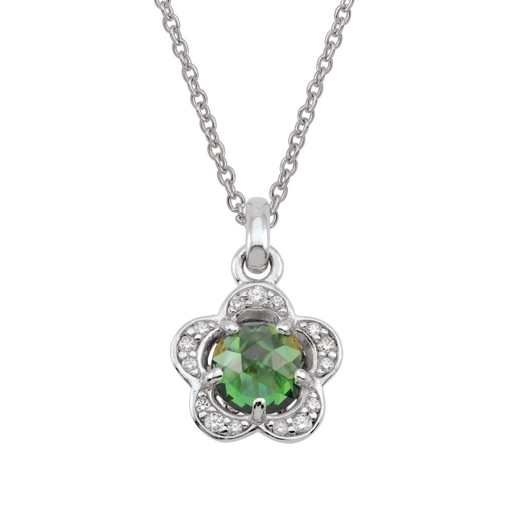 2 Extension Sterling Silver Green Color CZ Circle Necklaces 16