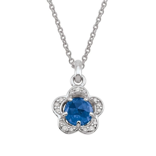 5478aa88c Shop Sterling Silver September Birthstone Flower Blue Cubic Zirconia  Necklace - On Sale - Free Shipping Today - Overstock - 24267761