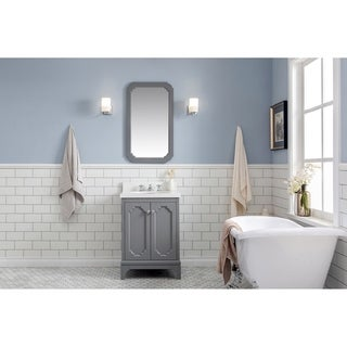 24 Inch Wide Single Sink Quartz Carrara Bathroom Vanity With Matching Mirror From The Queen Collection