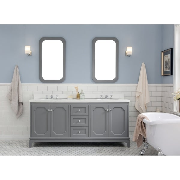 72 Inch Wide Double Sink Quartz Carrara Bathroom Vanity With Matching Faucets From The Queen Collection