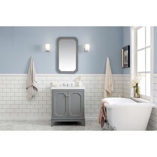 30 Inch Wide Single Sink Quartz Carrara Bathroom Vanity With Matching Faucet From The Queen Collection