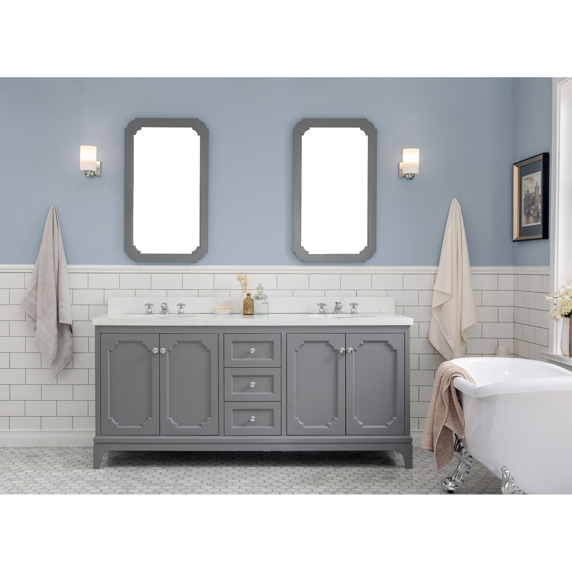Queen 72 Quartz Carrara Bathroom Vanity With Mirrors And Faucets Overstock 24267841