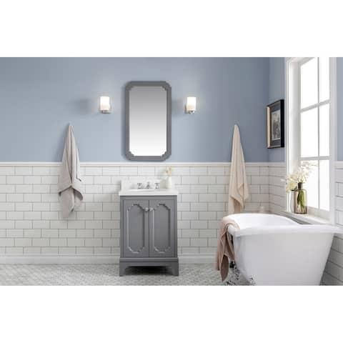 """Queen 24"""" Quartz Carrara Bathroom Vanity With Mirror And Faucet"""