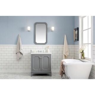 Water Creation Queen Collection Grey Wood Carrara Quartz 30-inch Single Sink Bathroom Vanity