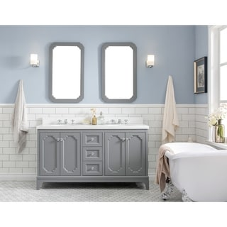 60 Inch Wide Double Sink Quartz Carrara Bathroom Vanity From The Queen Collection