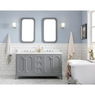 Water Creation The Queen Collection Double-Sink Quartz Carrara Bathroom Vanity