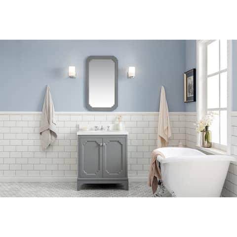 """Queen 30"""" Quartz Carrara Bathroom Vanity With Mirror And Faucet"""
