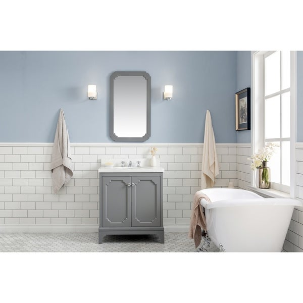 30 Inch Wide Single Sink Quartz Carrara Bathroom Vanity With Matching Mirror And Faucet From The Queen Collection