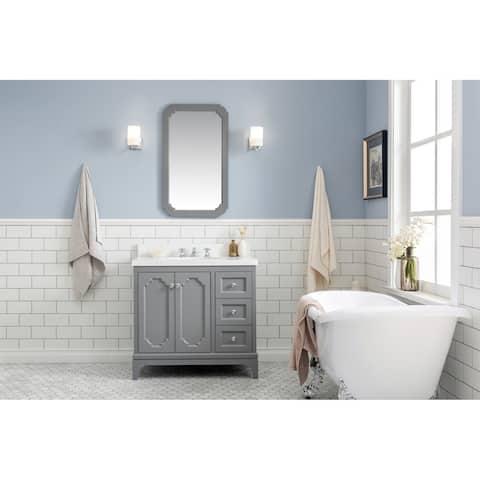 """Queen 36"""" Quartz Carrara Bathroom Vanity With Mirror And Faucet"""