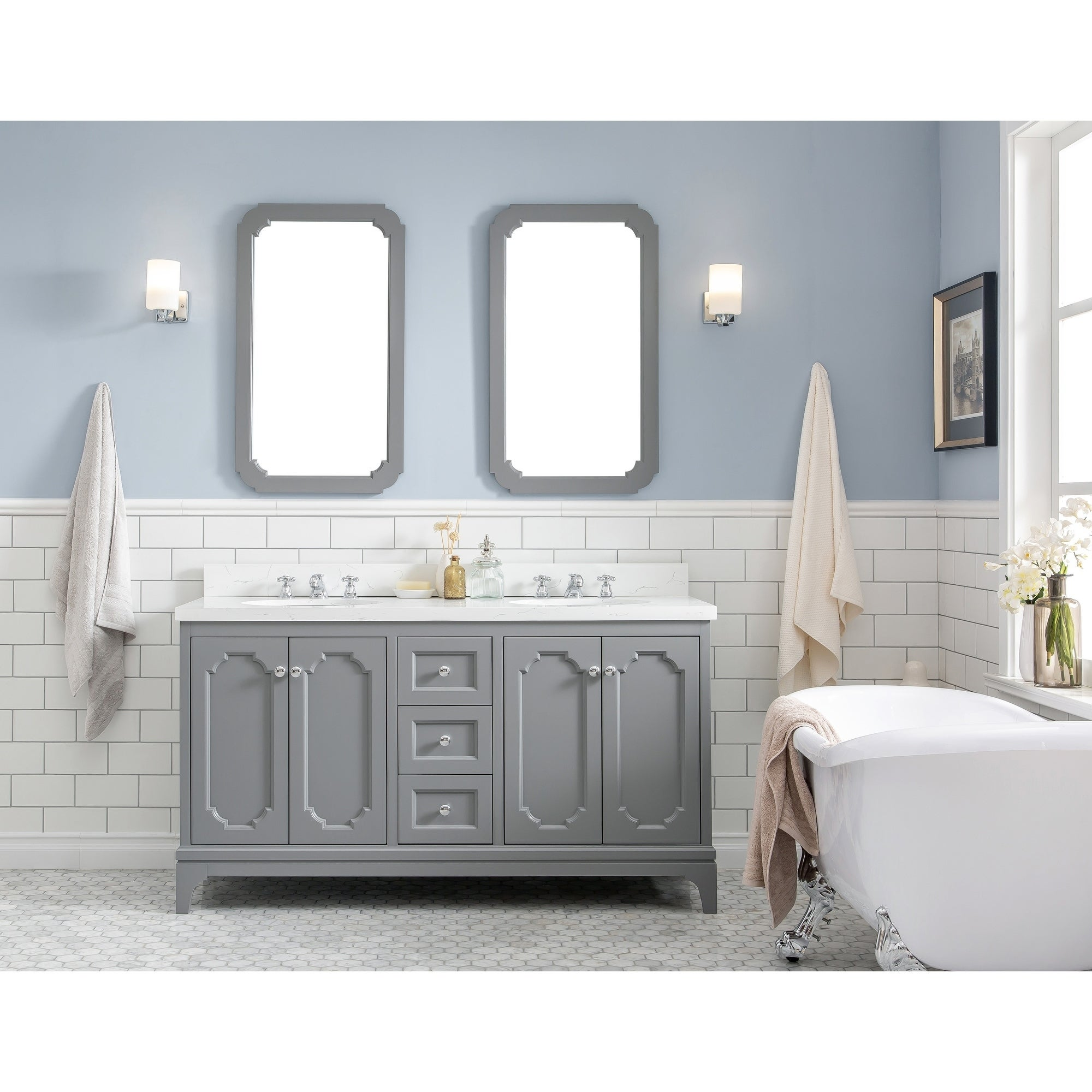 Shop Black Friday Deals On 60 Inch Wide Double Sink Quartz Carrara Bathroom Vanity With Matching Mirrors From The Queen Collection Overstock 24267867 Pure White