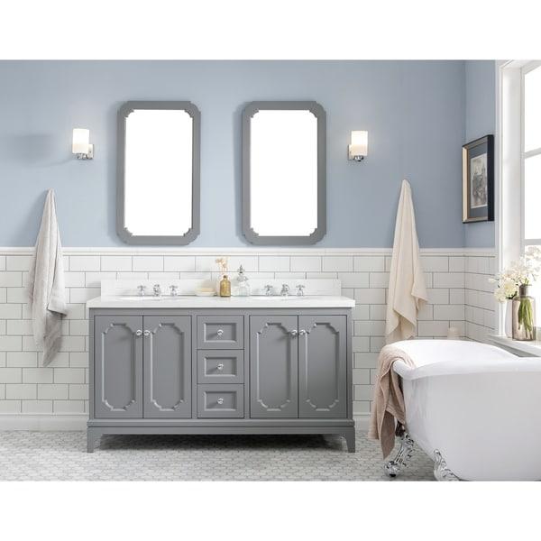 Shop 60 Inch Wide Double Sink Quartz Carrara Bathroom ...