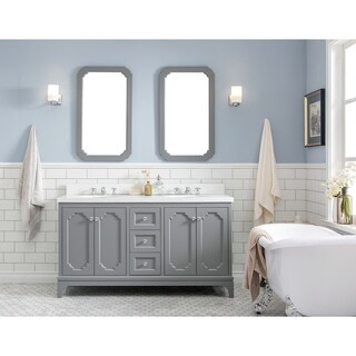 Water Creation The Queen Collection Double Sink Quartz Carrara Bathroom Vanity With Matching Mirrors