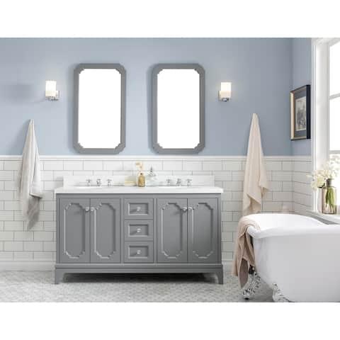 """Queen 60"""" Quartz Carrara Bathroom Vanity With Mirrors & Faucets"""