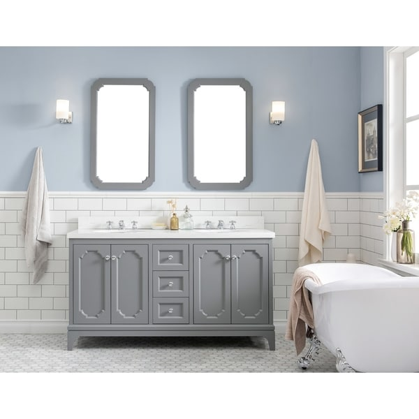 60 Inch Wide Double Sink Quartz Carrara Bathroom Vanity With Matching Mirrors And Faucets From The Queen Collection