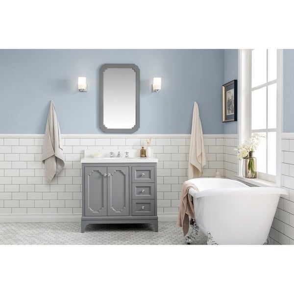 36 Inch Wide Single Sink Quartz Carrara Bathroom Vanity With Matching Faucet From The Queen Collection