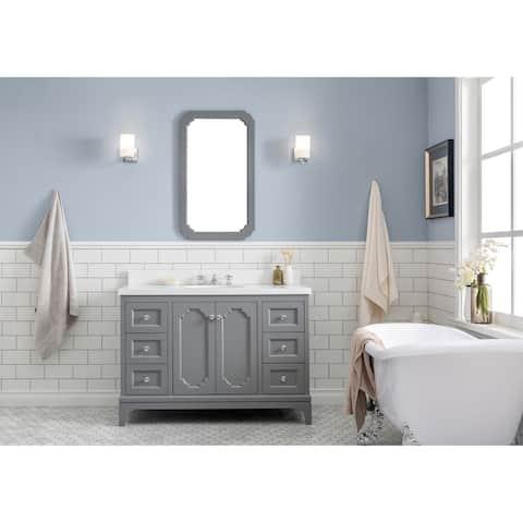 """Queen 48"""" Quartz Carrara Bathroom Vanity With Mirror And Faucet"""