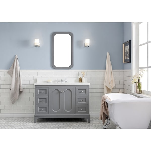 Bon 48 Inch Wide Single Sink Quartz Carrara Bathroom Vanity With Matching Mirror  And Faucet From The