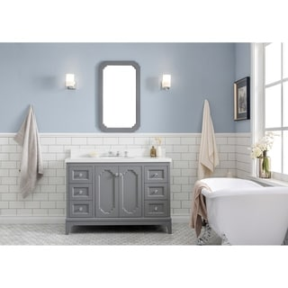 48 Inch Wide Single Sink Quartz Carrara Bathroom Vanity With Matching Mirror And Faucet From The Queen Collection