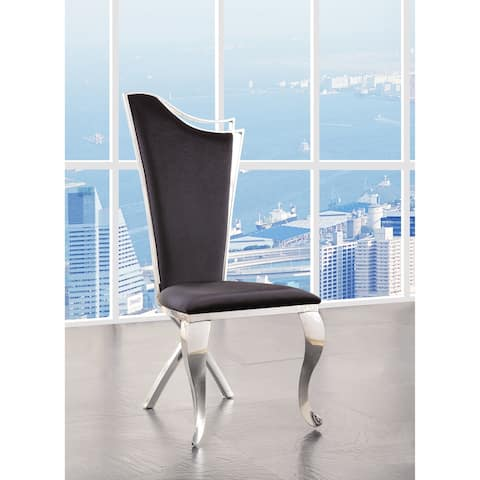 ACME Cyrene Black Fabric and Stainless Steel Side Chair (Set of 2)