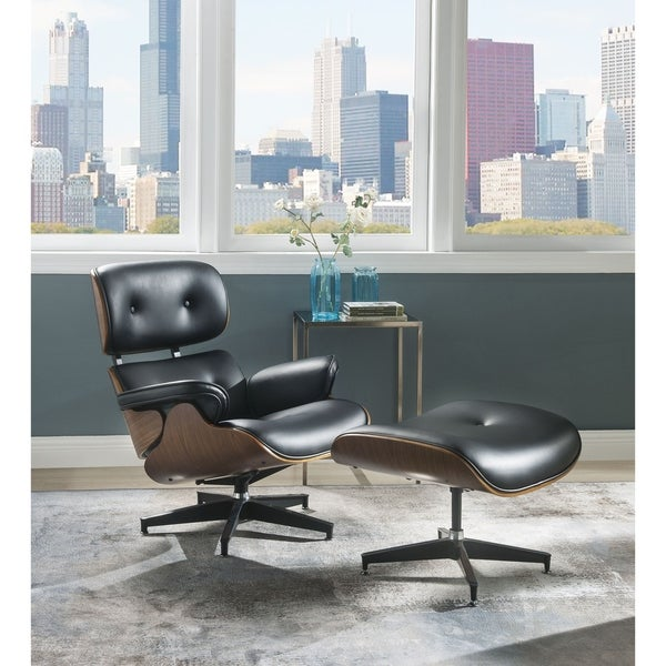 ACME Keary 2 Pieces Pack Chair and Ottoman, Black Bonded Leather and Walnut
