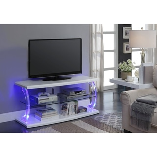 ACME Aileen LED TV Stand in White and Clear Glass