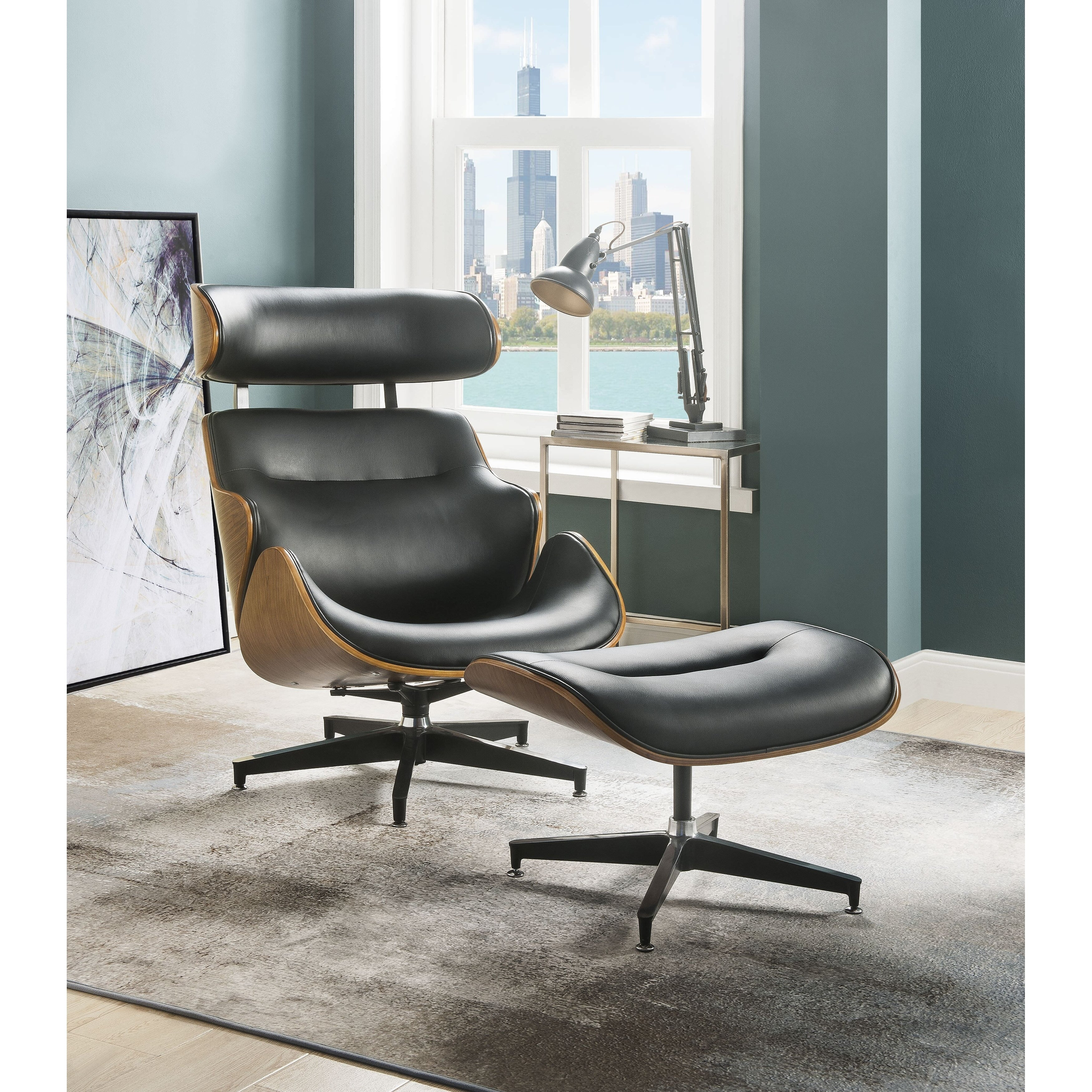 Pleasing Acme Herne 2 Pieces Pack Chair And Ottoman Black Bonded Leather And Walnut Uwap Interior Chair Design Uwaporg