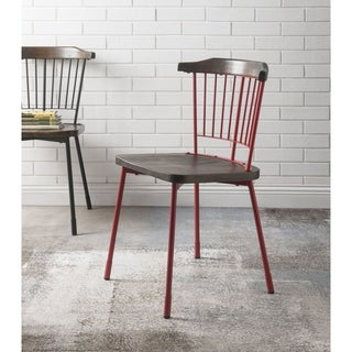ACME Orien Side Chair (Set of 2) in Red and Brown Oak