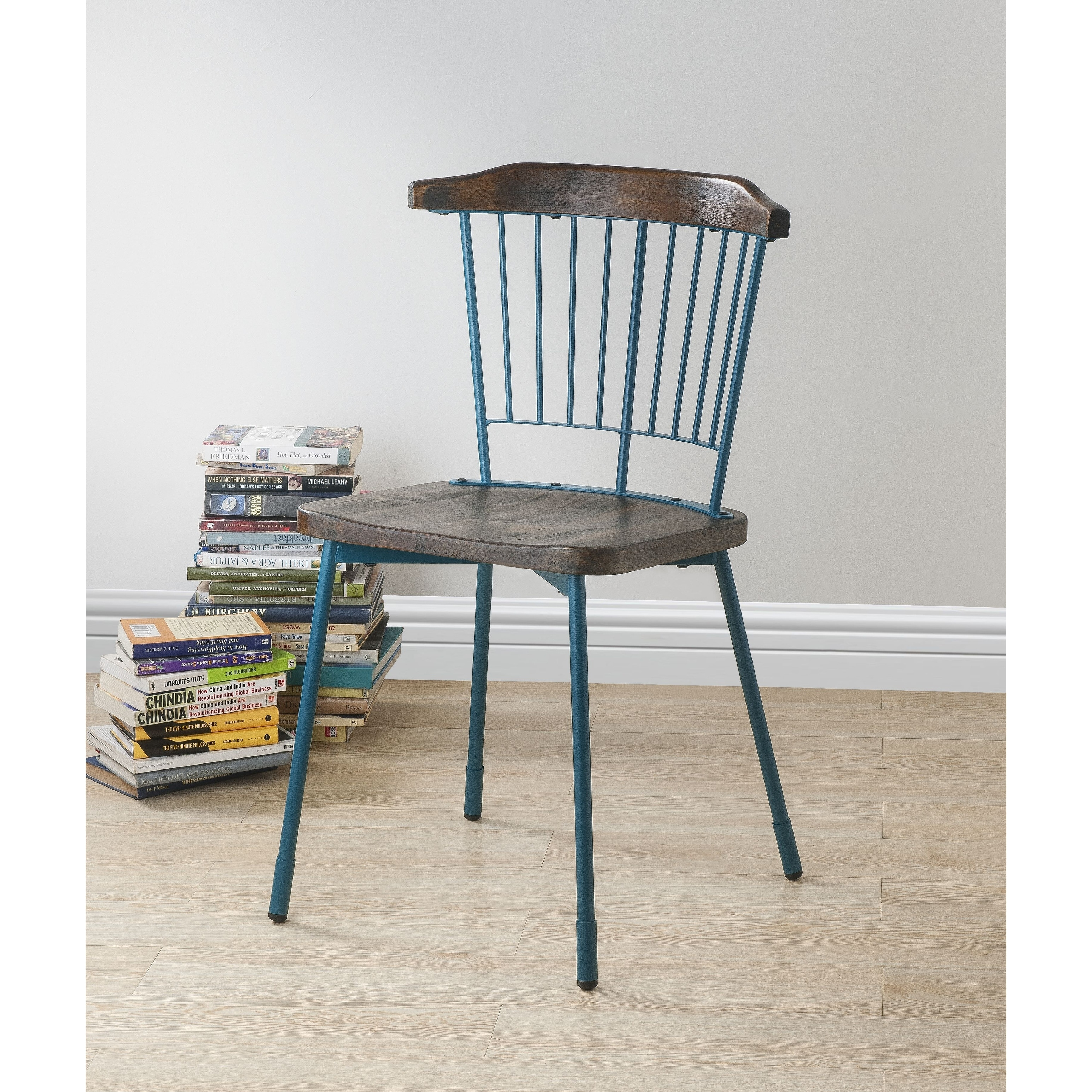 Acme Orien Side Chair Set Of 2 In Teal And Brown Oak