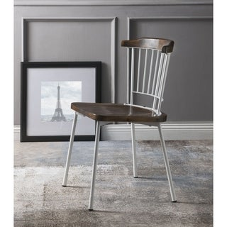 ACME Orien Side Chair (Set of 2) in White and Brown Oak