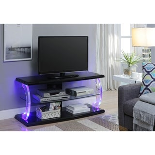 ACME Aileen LED TV Stand in Black and Clear Glass