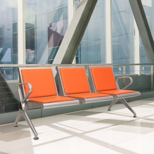 Kinbor 3-Seat Leather Airport Reception Waiting Chair Guest Chair Salon Barber Bank Bench Orange