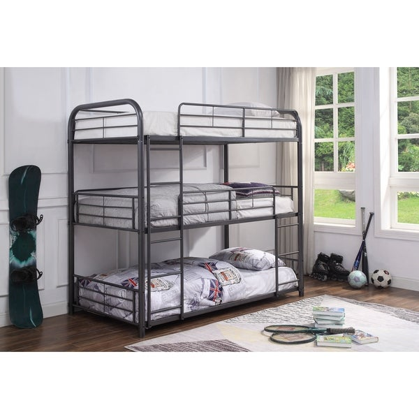ACME Cairo Triple Full Bunk Bed in Gunmetal