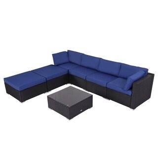 Kinbor 7 PCs Outdoor Patio Furniture Sectional PE Wicker Rattan Sofa Set Orange