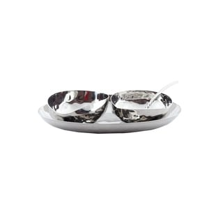 Full Polished Hammered Stainless Steel 4 Pcs. Cream & Sugar Set