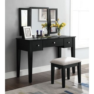 ACME Severus Vanity Set in Tan Velvet and Black